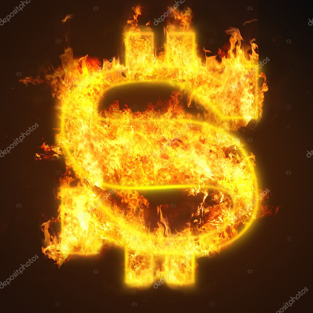 Fire dollar sign on black background — Stock Photo #6254843