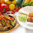 Original fajita sizzling hot  on iron plate — Stock Photo