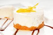 Lemon mousse served whith lemon peel on top — Stock Photo