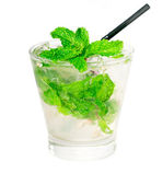 Mojito caipirina cocktail with fresh mint leaves — Stock Photo