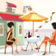 Girls drinking coffee in cafe — Stockvector #6535328