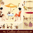 Stock Vector: Set of coffee and cafe elements
