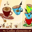 Set of coffee cups and other coffee elements — 图库矢量图片