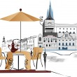 Series of street cafes in the city — Stok Vektör