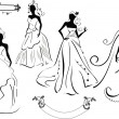 Stock Vector: Set of wedding girls