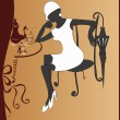 Girl drinking coffee — Imagen vectorial