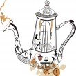 Abstract coffee-pot with girls — Imagen vectorial