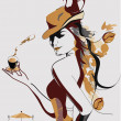 Vettoriale Stock : Abstract coffee girl