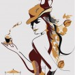 Abstract coffee girl — Stockvectorbeeld