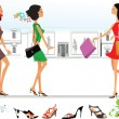 Shopping in the city, stylized girls with bags - Векторная иллюстрация
