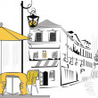 Series of street cafes in old town — Vector de stock #6535501