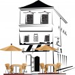 Stock Vector: Series of street cafes in the old town