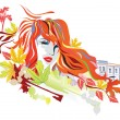 Stock Vector: Abstract autumn girl