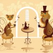 Cats drinking coffee — Imagen vectorial