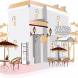 Series of street cafes in city — Vector de stock #6535579