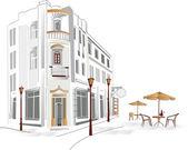 серия старых улиц с кафе в эскизы — Cтоковый вектор