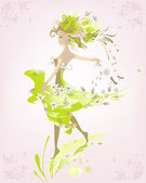 Abstract spring girl — Stock Vector