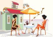 девочки, пить кофе в кафе — Cтоковый вектор