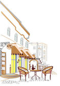 уличные кафе — Cтоковый вектор