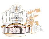 Série de cafés de la rue dans la ville — Vecteur