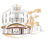 серия уличных кафе в городе — Cтоковый вектор