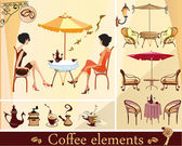 Set of coffee and cafe elements — Stock Vector