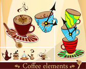 Set of coffee cups and other coffee elements — Stock Vector
