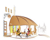 系列的咖啡馆在草图的旧街道上 — 图库矢量图片