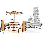 Serie van oude straatjes met cafes in schetsen — Stockvector