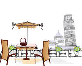 Series of old streets with cafes in sketches — 图库矢量图片