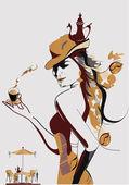 абстрактный кофе девушка — Cтоковый вектор