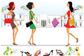 Shopping in the city, stylized girls with bags — 图库矢量图片