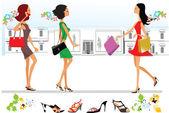 шоппинг в городе, стилизованные девочки с мешками — Cтоковый вектор
