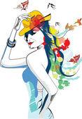 花と抽象的な夏の女の子 — ストックベクタ