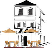 Serie de cafés en el casco antiguo — Vector de stock
