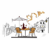 Series of street cafes in the old town — 图库矢量图片