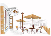 Series of street cafes in the old town — Vector de stock