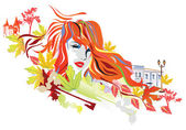 Abstract autumn girl — Stock Vector