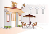 Series of street cafes in the old town — Stock Vector