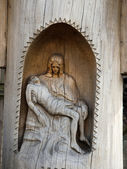 Pieta in a small chapel carved in a tree trunk — Stock Photo