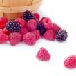 Pile of Fresh Raspberries and Blueberries — Stock Photo #6297462