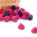 Pile of Fresh Raspberries and Blueberries — Stock Photo #6297462