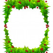 Holly Frame Isolated on White — Stock Photo