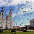 Birds near church — Stockfoto #5697680