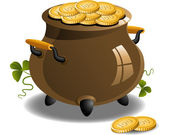 Pot of Gold (St. Patrick's Day) — Stock Vector