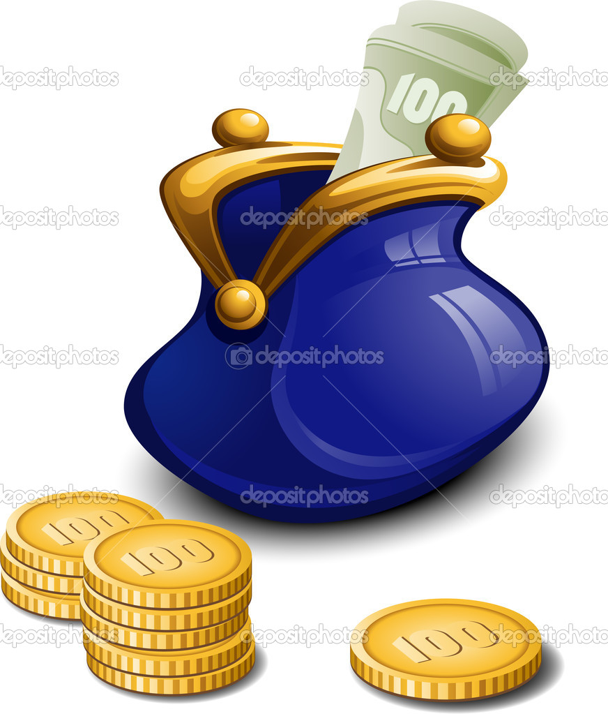 Blue purse with money over white. EPS 8, AI, JPEG  Stock Vector #5416349