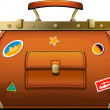 Old-fashioned travel bag (valise) — Stock Vector