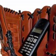 Baseball glove and the phone — Stock Photo