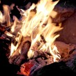Burning fire woods in stone fireplase — Stock Photo #5475235