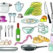 Set of kitchen vector tools, food and beverages — ベクター素材ストック